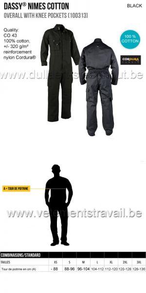 DASSY® Nimes Coton (100313) Combinaison avec poches genoux - noir