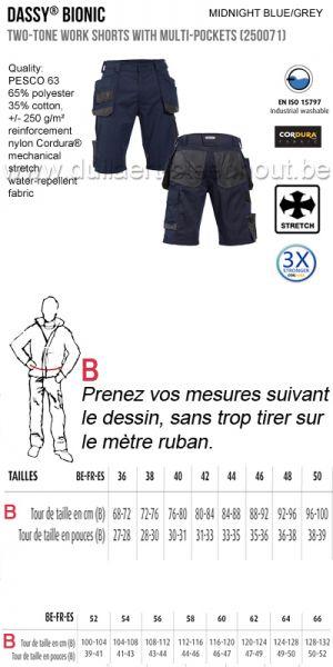 DASSY® Bionic (250071) Bermuda de travail multi-poches bicolore - bleu nuit/gris