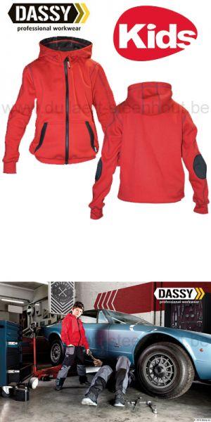 DASSY® Watson Kids (300391) Sweat-shirt à capuche - rouge/noir