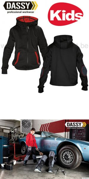 DASSY® Watson Kids (300391) Sweat-shirt à capuche - noir/rouge