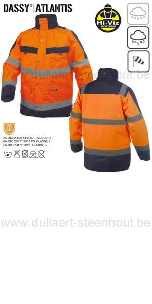 DASSY® Atlantis (300346) Parka imperméable haute visibilité - orange fluo/marine