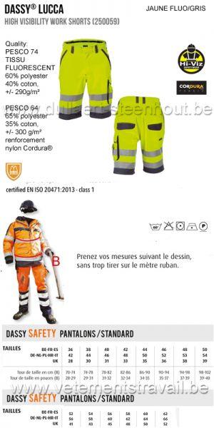 DASSY® Lucca (250059) Bermuda de travail haute visibilité - fluo jaune/gris