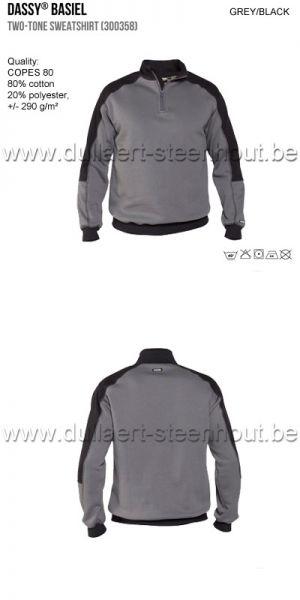 DASSY® Basiel (300358) Sweat-shirt bicolore - gris/noir