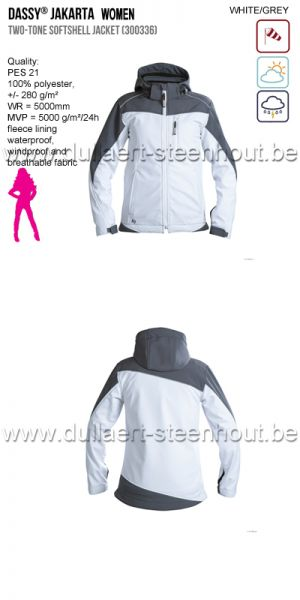 DASSY® Jakarta Women (300435) Veste softshell bicolore - blanc/gris