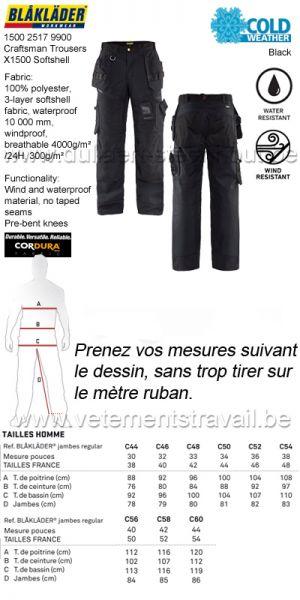 Blaklader - 150025179900 Pantalon X1500 softshell