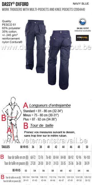 DASSY® Oxford 245 (200444) Pantalon de travail multi-poches avec poches genoux - marine