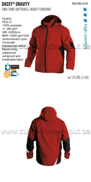 DASSY® Gravity (300396) Veste softshell bicolore - rouge/noir