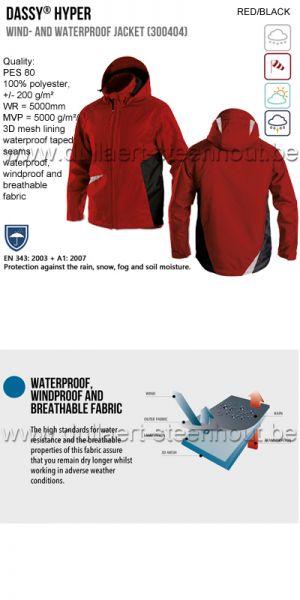DASSY® Hyper (300404) Veste imperméable et coupe-vent - rouge/noir