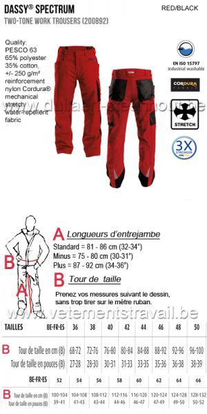 DASSY® Spectrum (200892) Pantalon de travail bicolore - rouge/noir