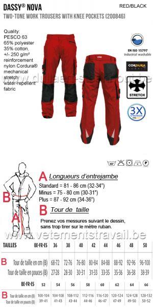DASSY® Nova (200846) Pantalon de travail poches genoux bicolore - rouge/noir