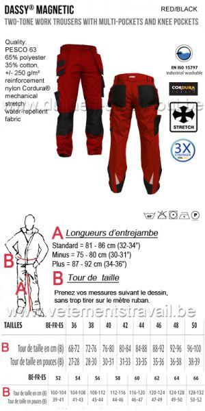 DASSY® Magnetic (200908) Pantalon de travail multi-poches / bleu - rouge/noir