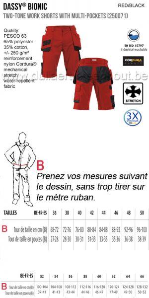 DASSY® Bionic (250071) Bermuda de travail multi-poches bicolore / rouge-noir