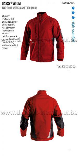 DASSY® Atom (300403) Veste de travail bicolore - rouge/noir