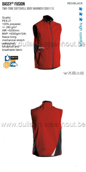 DASSY® Fusion (350111) Gilet hiver softshell bicolore - rouge/noir
