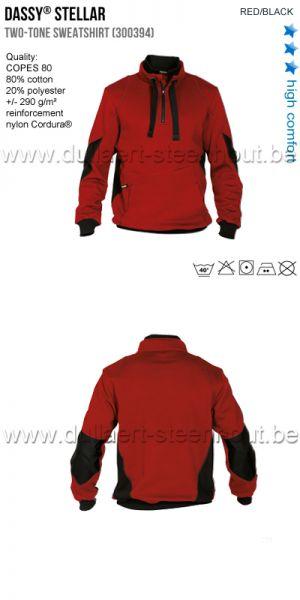 DASSY® Stellar (300394) Sweat-shirt bicolore - rouge/noir