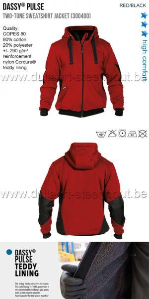 DASSY® Pulse (300400) Veste sweat-shirt bicolore - rouge/noir