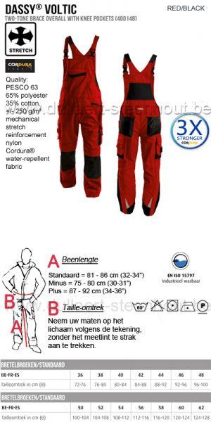 DASSY® Voltic (400148) Cotte à bretelles bicolore / salopette de travail - rouge/noir