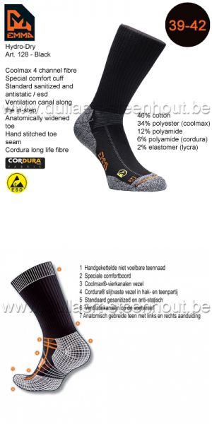 Emma - CHAUSSETTES HYDRO-DRY WORKING 128 / NOIR / 39-42