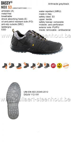 DASSY® Nox S3 (10011) Chaussure de sécurité tige basse - gris/noir