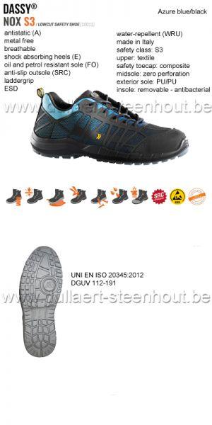 DASSY® Nox S3 (10011) Chaussure de sécurité tige basse - bleu/noir