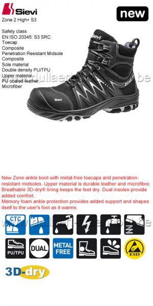Sievi - Chaussures de sécurité Zone 2 High+ S3