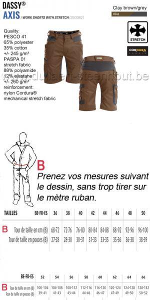 DASSY® Axis (250082) Bermuda de travail avec stretch - brun/gris