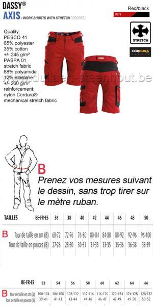 DASSY® Axis (250082) Bermuda de travail avec stretch - rouge/noir