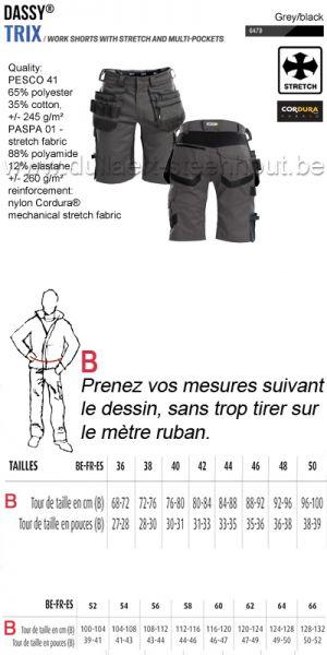DASSY® Trix (250083) Bermuda de travail multi-poches avec stretch - gris/noir