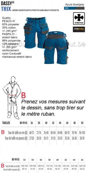 DASSY® Trix (250083) Bermuda de travail multi-poches avec stretch - bleu azur/gris