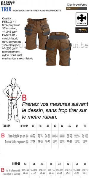 DASSY® Trix (250083) Bermuda de travail multi-poches avec stretch - brun/gris