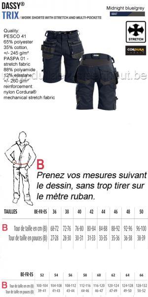 DASSY® Trix (250083) Bermuda de travail multi-poches avec stretch - bleu nuit/gris