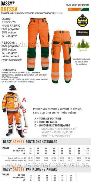 DASSY® Odessa (200984) Pantalon été haute visibilité avec poches genoux - orange fluo/vert