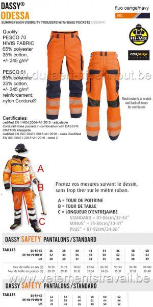 DASSY® Odessa (200984) Pantalon été haute visibilité - orange fluo/bleu marine