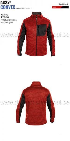 DASSY® Convex (300447) Veste intermediaire - rouge/noir