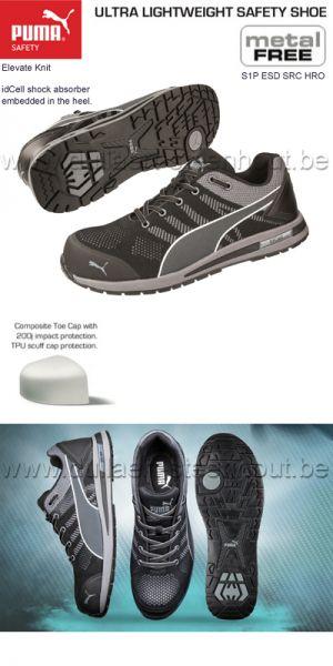 Puma safety - Sneaker de sécurité Puma Elevate Knit Black Low S1P
