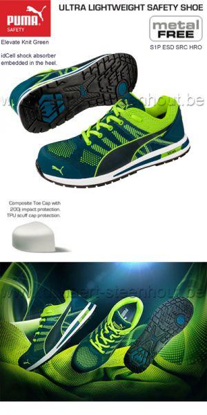 Puma safety - Sneaker de sécurité Puma Elevate Knit Green Low S1P