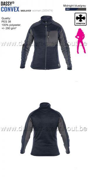 DASSY® Convex Women (300474) Veste intermediaire pour femmes - bleu nuit/gris
