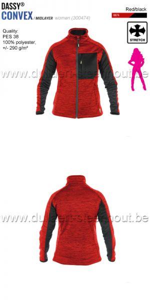 DASSY® Convex Women (300474) Veste intermediaire pour femmes - rouge/noir