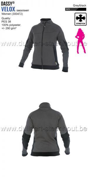 DASSY® Velox Women (300472) Sweat-shirt pour femmes - gris/noir