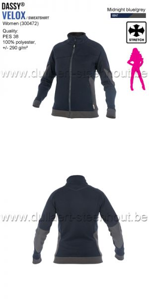 DASSY® Velox Women (300472) Sweat-shirt pour femmes - bleu nuit/gris