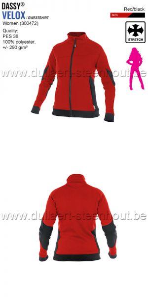 DASSY® Velox Women (300472) Sweat-shirt pour femmes - rouge/noir
