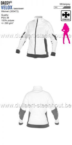 DASSY® Velox Women (300472) Sweat-shirt pour femmes - blanc/gris