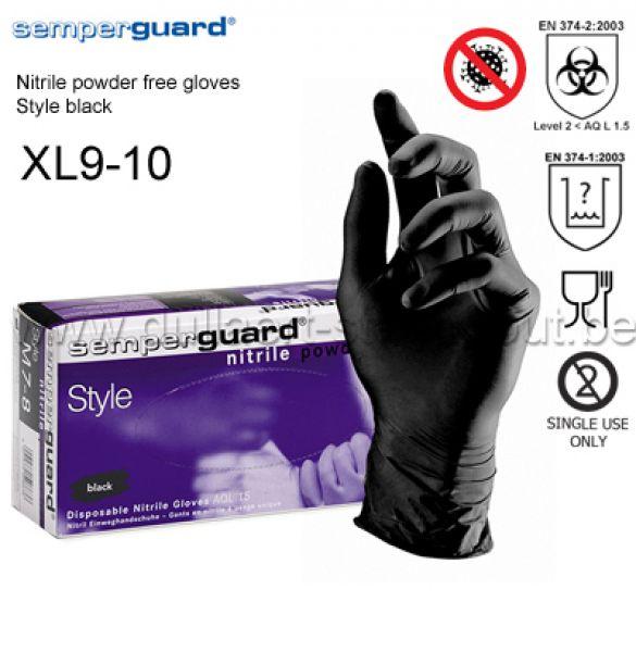 Semperguard - Style noir 90 gants jetables en nitrile - XL9-10