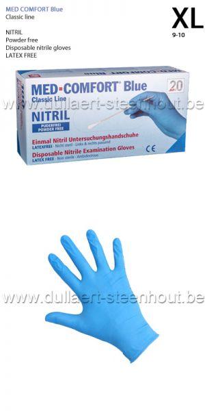 MED COMFORT blue - 100 Gants en nitrile Bleu NON POUDRES - XL