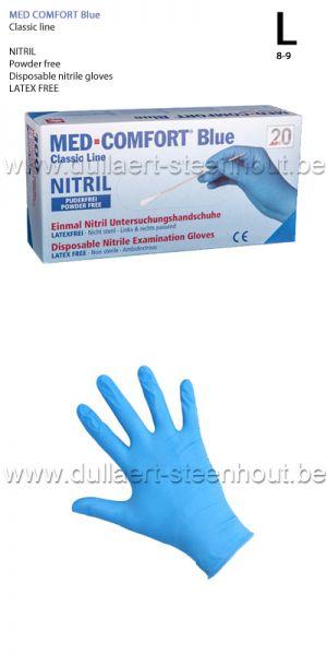 MED COMFORT blue - 100 Gants en nitrile Bleu NON POUDRES - L