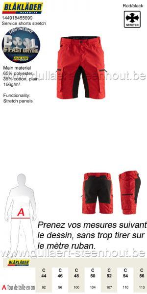 Blaklader 1449 1845 5699 Short services stretch - rouge/noir
