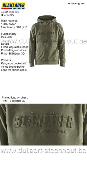 Blaklader - 353011584109 Sweat à capuche 3D - vert automn