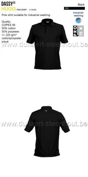 DASSY® Hugo (710039) Polo adapté au lavage industriel - noir