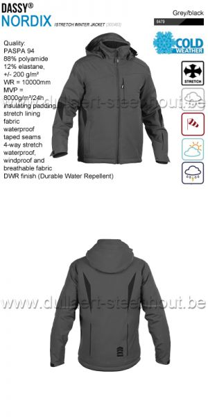DASSY® Nordix (300463) Veste hiver stretch - gris
