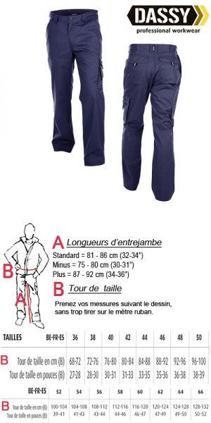Dassy Pantalon de travail - Liverpool bleu marine